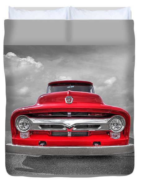Red Ford F-100 Head On Duvet Cover