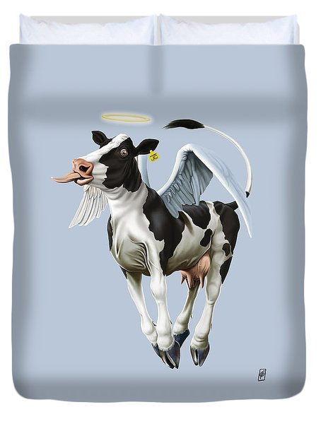 Duvet Cover featuring the drawing Holy Cow Colour by Rob Snow