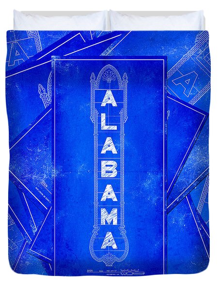 Alabama Theatre Marquee Blueprint Duvet Cover