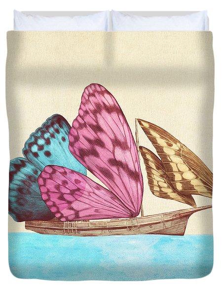 Butterfly Ship Duvet Cover