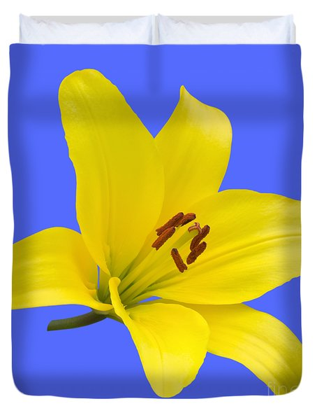 Yellow Asiatic Lily On Blue Duvet Cover by Jane McIlroy