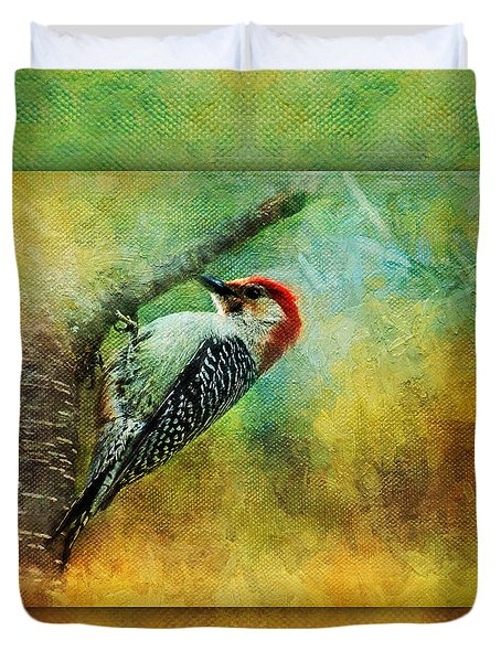 Woodpecker On Cherry Tree Duvet Cover