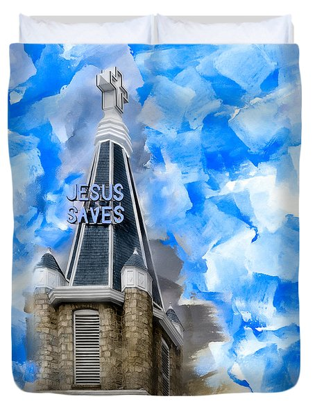 Jesus Saves In Sweet Auburn Duvet Cover
