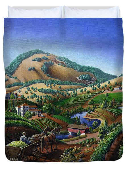 Old Wine Country Landscape - Delivering Grapes To Winery - Vintage Americana Duvet Cover