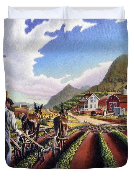 Appalachian Folk Art Summer Farmer Cultivating Peas Farm Farming Landscape Appalachia Americana Duvet Cover