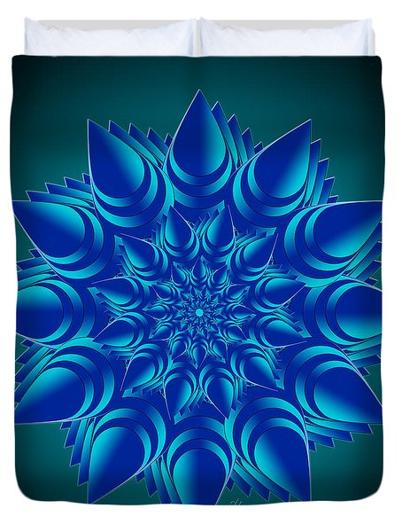 Fractal Flower In Blue Duvet Cover
