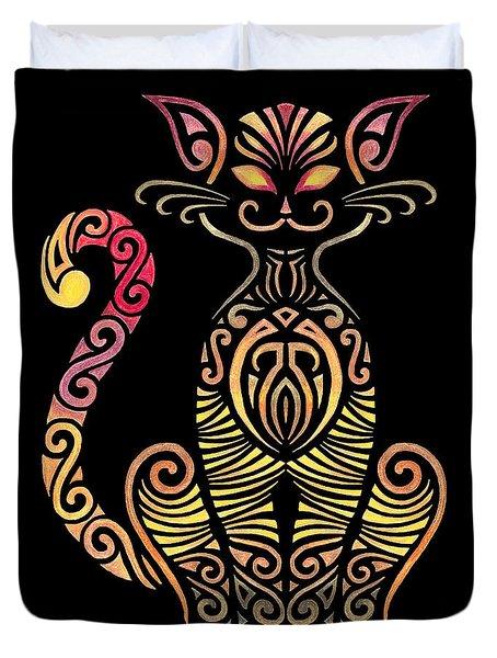 Tribal Cat Duvet Cover