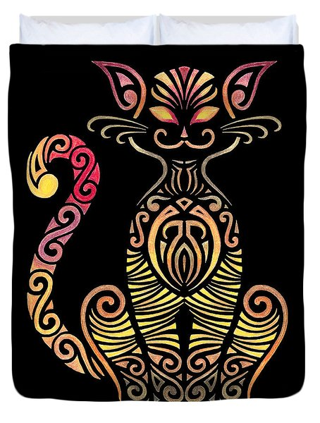 Tribal Cat Duvet Cover