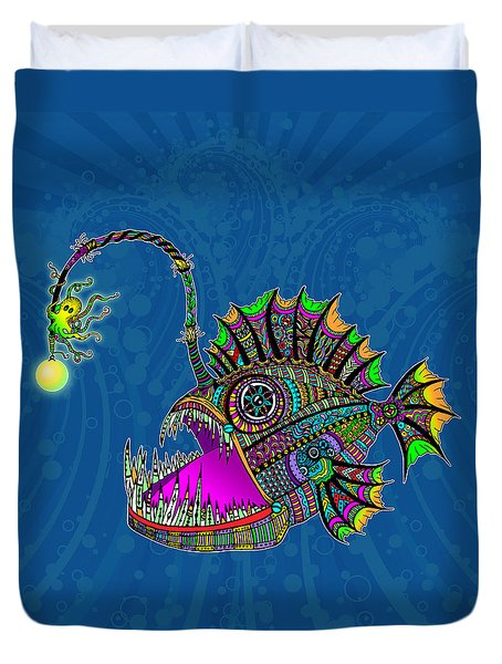 Duvet Cover featuring the drawing Electric Angler Fish by Tammy Wetzel