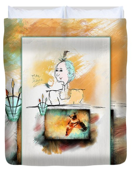 Mrs. Darwin's Theory Of Evolution Self Portrait  Duvet Cover