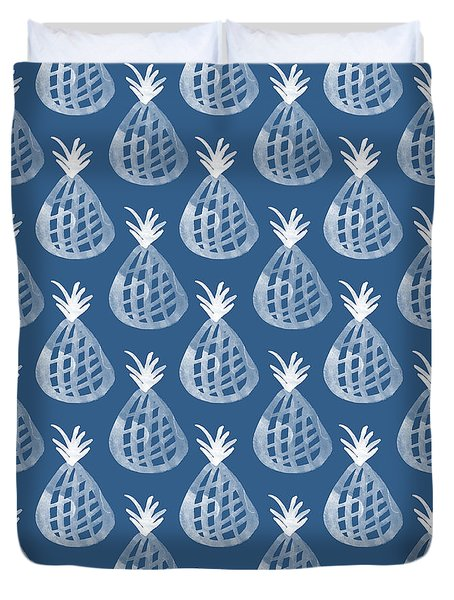 Indigo Pineapple Party Duvet Cover