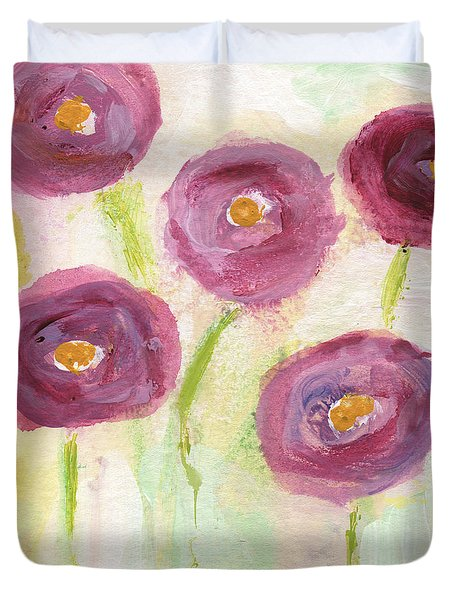 Joyful Poppies- Abstract Floral Art Duvet Cover