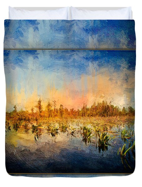 Sunset Over The Okefenokee Duvet Cover