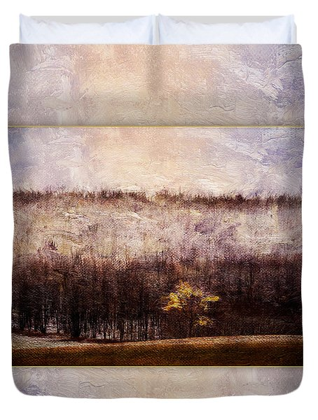 Gold Leafed Tree In Snow Duvet Cover