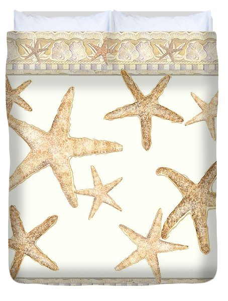 Serene Shores - West Indies Fighting Conch N Starfish Duvet Cover