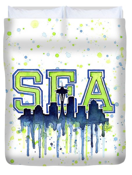 Seattle Watercolor 12th Man Art Painting Space Needle Go Seahawks Duvet Cover