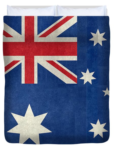 Australian Flag Vintage Retro Style Duvet Cover by Bruce Stanfield