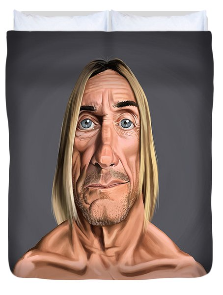 Duvet Cover featuring the drawing Celebrity Sunday - Iggy Pop by Rob Snow