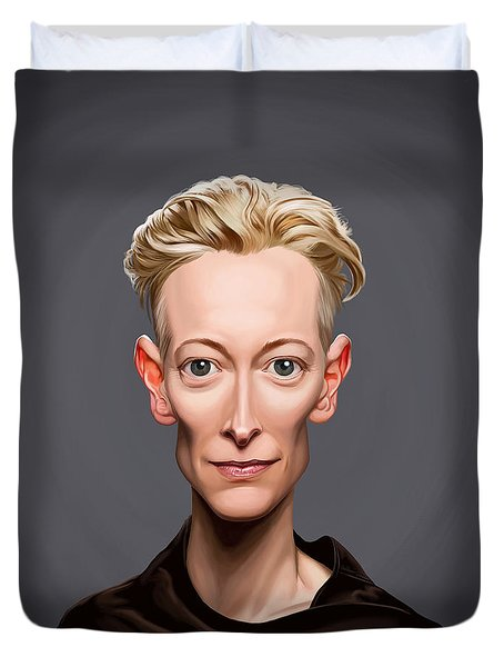Duvet Cover featuring the drawing Celebrity Sunday - Tilda Swinton by Rob Snow