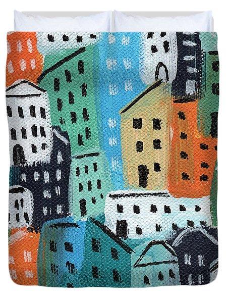 City Stories- Blue And Orange Duvet Cover