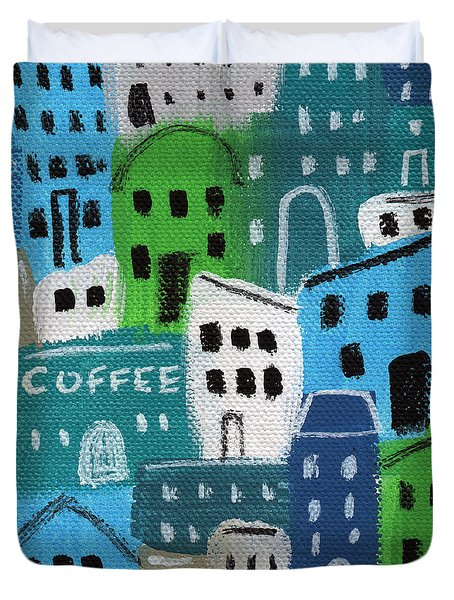 City Stories- Coffee Shop Duvet Cover