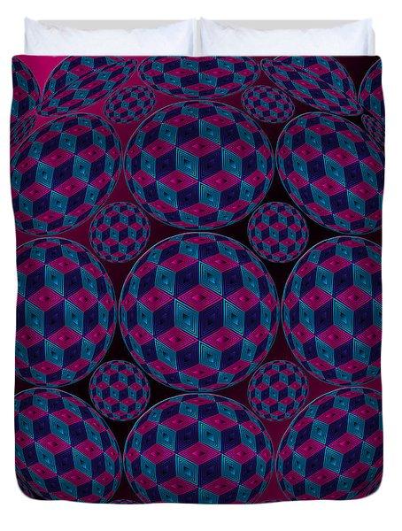 Spherized Pink Purple Blue And Black Hexa Duvet Cover