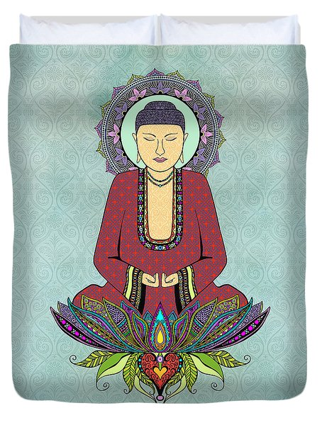Duvet Cover featuring the drawing Electric Buddha by Tammy Wetzel