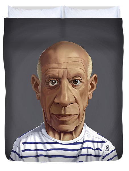 Duvet Cover featuring the drawing Celebrity Sunday - Pablo Picasso by Rob Snow