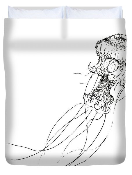 Jellyfish Sketch - Black And White Nautical Theme Decor Duvet Cover