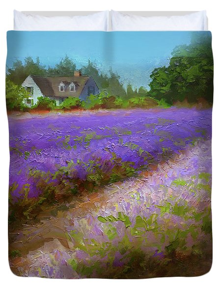 Impressionistic Lavender Field Landscape Plein Air Painting Duvet Cover
