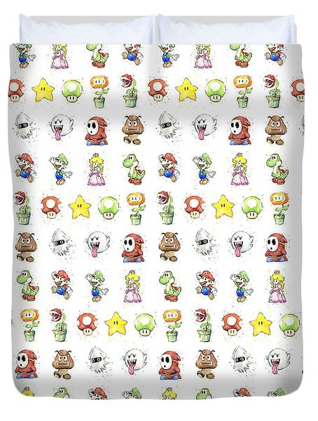 Mario Characters In Watercolor Duvet Cover