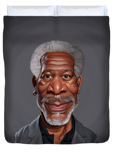 Duvet Cover featuring the drawing Celebrity Sunday - Morgan Freeman by Rob Snow