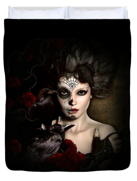 Duvet Cover featuring the digital art Darkside Sugar Doll by Shanina Conway