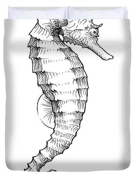 Seahorse Black And White Sketch Duvet Cover