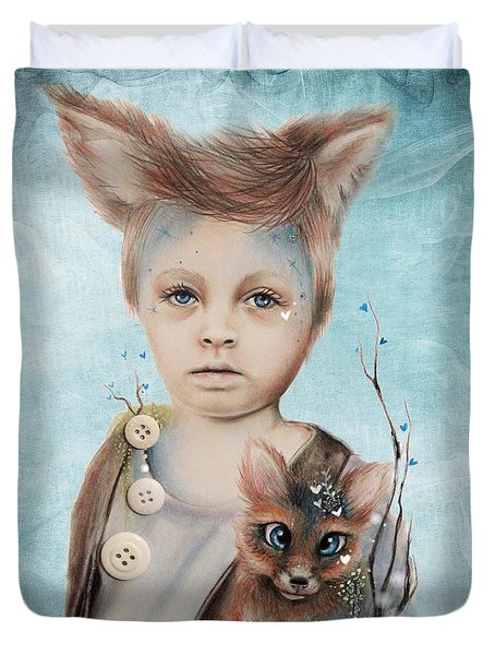 A Boy And His Fox   Duvet Cover by Sheena Pike