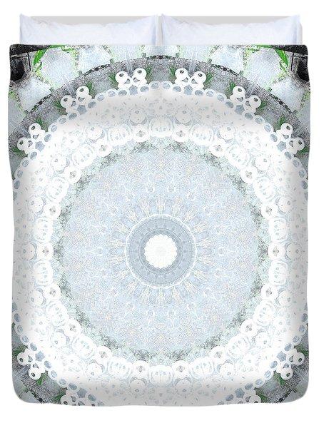 Light Blue Mandala- Art By Linda Woods Duvet Cover