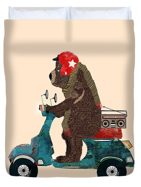 Scooter Bear Duvet Cover