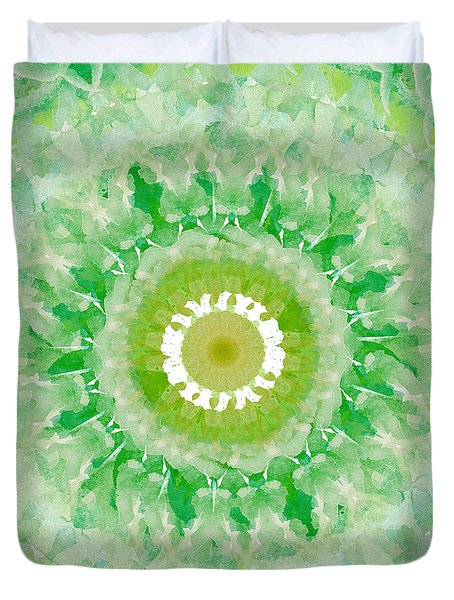 Green Mandala- Abstract Art By Linda Woods Duvet Cover