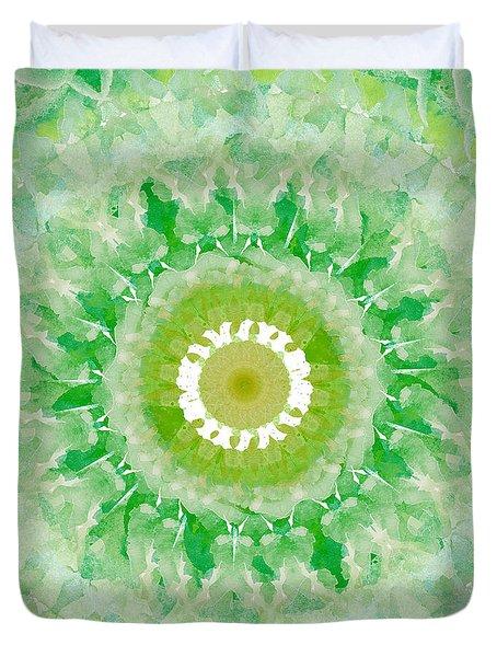 Green Mandala- Abstract Art By Linda Woods Duvet Cover