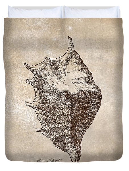 Duvet Cover featuring the drawing Distressed Antique Nautical Seashell 1  by Karen Whitworth