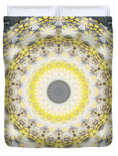 Duvet Cover featuring the painting Concrete And Yellow Mandala- Abstract Art By Linda Woods by Linda Woods