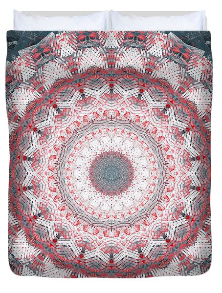 Concrete And Red Mandala- Abstract Art By Linda Woods Duvet Cover