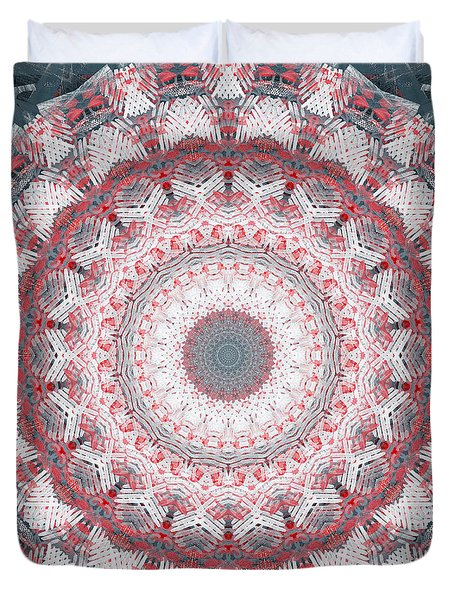 Duvet Cover featuring the painting Concrete And Red Mandala- Abstract Art By Linda Woods by Linda Woods