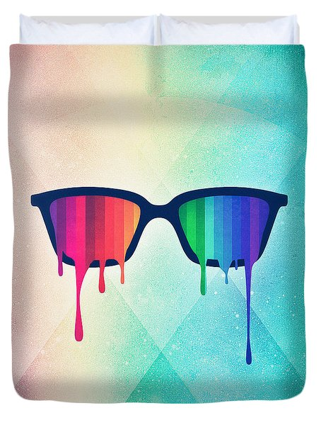 Love Wins Rainbow - Spectrum Pride Hipster Nerd Glasses Duvet Cover