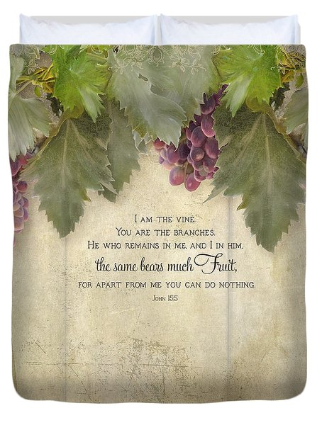 Tuscan Vineyard - Rustic Wood Fence Scripture Duvet Cover by Audrey Jeanne Roberts