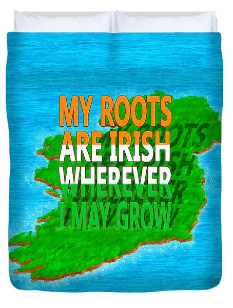 Irish Roots Typographical Art Duvet Cover