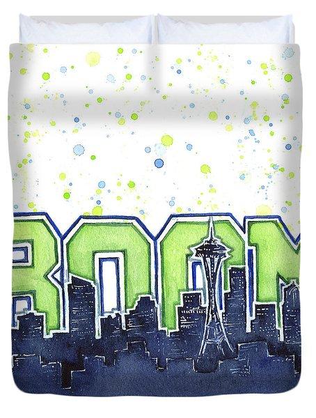 Seattle 12th Man Legion Of Boom Painting Duvet Cover by Olga Shvartsur