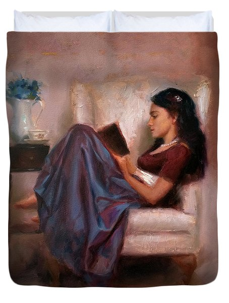 Jaidyn Reading A Book 2 - Portrait Of Woman Duvet Cover