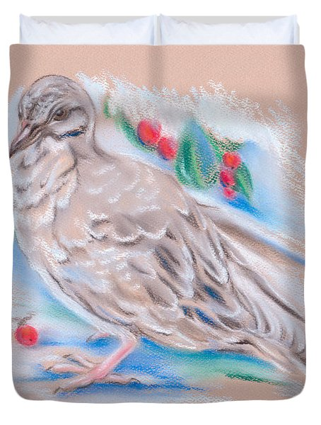 Winter Mourning Dove Duvet Cover