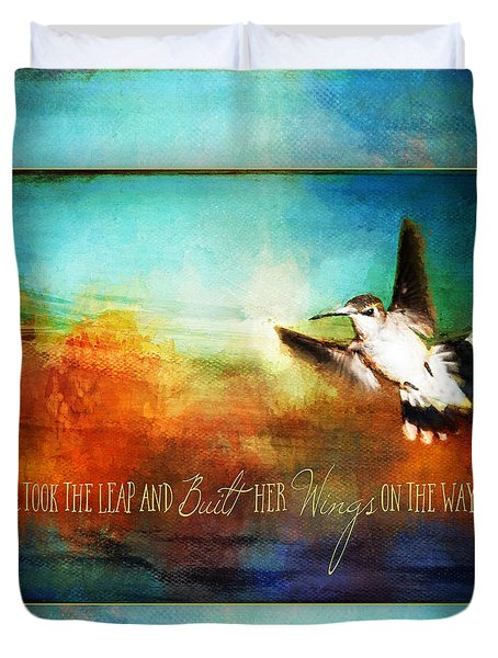 She Built Her Wings Duvet Cover